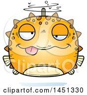Clipart Graphic Of A Cartoon Drunk Blowfish Character Mascot Royalty Free Vector Illustration