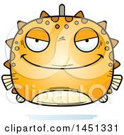 Clipart Graphic Of A Cartoon Evil Blowfish Character Mascot Royalty Free Vector Illustration