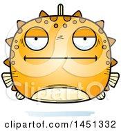 Clipart Graphic Of A Cartoon Bored Blowfish Character Mascot Royalty Free Vector Illustration