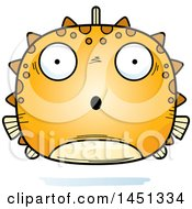 Clipart Graphic Of A Cartoon Surprised Blowfish Character Mascot Royalty Free Vector Illustration
