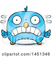 Clipart Graphic Of A Cartoon Scared Blue Bird Character Mascot Royalty Free Vector Illustration