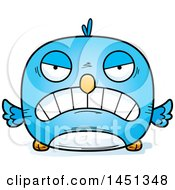 Clipart Graphic Of A Cartoon Mad Blue Bird Character Mascot Royalty Free Vector Illustration