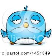 Clipart Graphic Of A Cartoon Sad Blue Bird Character Mascot Royalty Free Vector Illustration