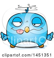 Clipart Graphic Of A Cartoon Drunk Blue Bird Character Mascot Royalty Free Vector Illustration