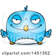 Clipart Graphic Of A Cartoon Evil Blue Bird Character Mascot Royalty Free Vector Illustration