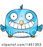 Clipart Graphic Of A Cartoon Grinning Blue Bird Character Mascot Royalty Free Vector Illustration