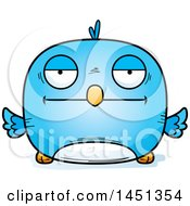 Clipart Graphic Of A Cartoon Bored Blue Bird Character Mascot Royalty Free Vector Illustration by Cory Thoman
