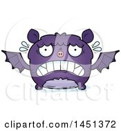 Clipart Graphic Of A Cartoon Scared Flying Bat Character Mascot Royalty Free Vector Illustration
