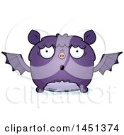 Clipart Graphic Of A Cartoon Surprised Flying Bat Character Mascot Royalty Free Vector Illustration