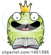 Clipart Graphic Of A Cartoon Reading Frog Prince Character Mascot Royalty Free Vector Illustration