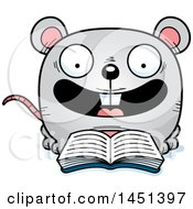 Clipart Graphic Of A Cartoon Reading Mouse Character Mascot Royalty Free Vector Illustration