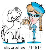 Poster, Art Print Of Big Spoiled White Dog Waiting As A Woman Serves Him A Tray Of Dog Bone Biscuits