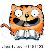 Clipart Graphic Of A Cartoon Reading Cat Character Mascot Royalty Free Vector Illustration