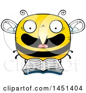 Clipart Graphic Of A Cartoon Reading Bee Character Mascot Royalty Free Vector Illustration
