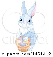 Clipart Graphic Of A Cute Bunny Rabbit With A Basket Of Easter Eggs Royalty Free Vector Illustration by Pushkin