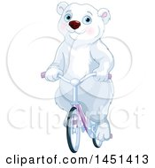 Clipart Graphic Of A Cute Polar Bear Riding A Bicycle Royalty Free Vector Illustration by Pushkin