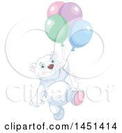 Poster, Art Print Of Cute Polar Bear Floating With Party Balloons