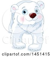 Clipart Graphic Of A Cute Polar Bear Walking Royalty Free Vector Illustration