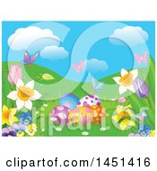 Spring Background Of Butterflies Flowers And Easter Eggs With Hills