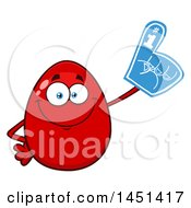 Clipart Graphic Of A Cartoon Red Egg Mascot Character Wearing A Foam Finger Royalty Free Vector Illustration