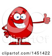 Clipart Graphic Of A Cartoon Red Egg Mascot Character Giving A Thumb Up Royalty Free Vector Illustration