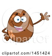 Clipart Graphic Of A Cartoon Chocolate Egg Mascot Waving Royalty Free Vector Illustration