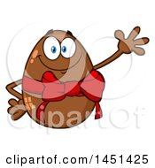 Clipart Graphic Of A Cartoon Chocolate Egg Mascot Wearing A Bow And Waving Royalty Free Vector Illustration