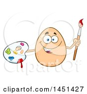 Clipart Graphic Of A Cartoon Egg Mascot Character Holding A Paintbrush And Palette Royalty Free Vector Illustration