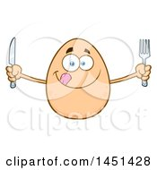 Cartoon Hungry Egg Mascot Character Holding Silverware
