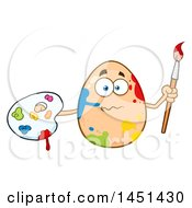 Cartoon Egg Mascot Character Splattered With Paint Holding A Paintbrush And Palette