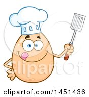 Cartoon Egg Chef Mascot Character Holding A Spatula