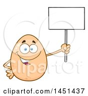 Clipart Graphic Of A Cartoon Egg Mascot Character Holding A Blank Sign Royalty Free Vector Illustration by Hit Toon