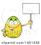 Cartoon Decorated Easter Egg Mascot Character Holding A Blank Sign
