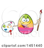 Poster, Art Print Of Cartoon Decorated Easter Egg Mascot Character Holding A Paintbrush And Palette