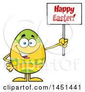Clipart Graphic Of A Cartoon Decorated Easter Egg Mascot Character Holding A Happy Easter Sign Royalty Free Vector Illustration by Hit Toon