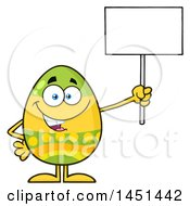 Clipart Graphic Of A Cartoon Decorated Easter Egg Mascot Character Holding A Blank Sign Royalty Free Vector Illustration by Hit Toon