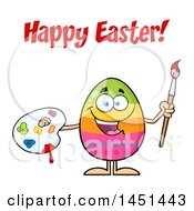 Clipart Graphic Of A Cartoon Decorated Egg Mascot Character Holding A Paintbrush And Palette Under Happy Easter Text Royalty Free Vector Illustration by Hit Toon