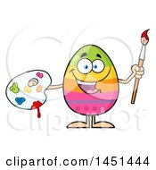 Clipart Graphic Of A Cartoon Decorated Easter Egg Mascot Character Holding A Paintbrush And Palette Royalty Free Vector Illustration