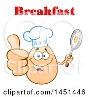 Cartoon Egg Chef Mascot Character Holding A Frying Pan And Giving A Thumb Up Under Breakfast Text