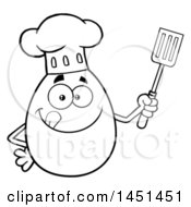 Clipart Graphic Of A Cartoon Black And White Lineart Egg Chef Mascot Character Holding A Spatula Royalty Free Vector Illustration