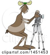 Clipart Graphic Of A Cartoon Moose Photographer Wearing Sunglasses And Taking Pictures With A Camera On A Tripod Royalty Free Vector Illustration