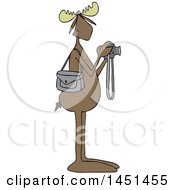 Clipart Graphic Of A Cartoon Moose Photographer Taking Pictures With A Camera Royalty Free Vector Illustration