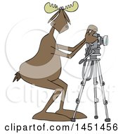 Cartoon Moose Photographer Taking Pictures With A Camera On A Tripod