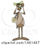 Cartoon Moose Photographer Wearing Sunglasses Facing Front And Taking Pictures With A Camera