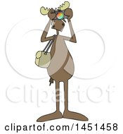 Clipart Graphic Of A Cartoon Moose Photographer Facing Front And Taking Pictures With A Camera Royalty Free Vector Illustration