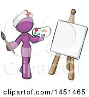 Purple Design Mascot Nurse Woman Artist Painting A Portrait