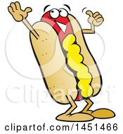 Clipart Graphic Of A Cartoon Happy Hot Dog Mascot With Mustard Giving A Thumb Up Royalty Free Vector Illustration