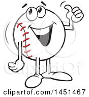 Clipart Graphic Of A Cartoon Happy Baseball Mascot Giving A Thumb Up Royalty Free Vector Illustration by Johnny Sajem