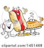 Clipart Graphic Of A Cartoon Happy Baseball Pie And Hot Dog Giving A Thumb Up Royalty Free Vector Illustration by Johnny Sajem