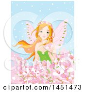 Clipart Graphic Of A Red Haired Spring Time Fairy Surrounded Pink Blossoms Against Blue Royalty Free Vector Illustration